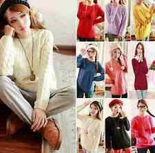 Vintage Women Cable Knit Sweater Jumper Coat Round Neck Long Sleeve Knitwear Top