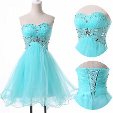 Clear Fresh Aqua Beaded Bridesmaid Party Homecoming Cocktail Prom Formal Dresses