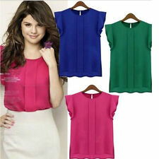 Women's Candy Colours loose leisure Chiffon Short tulip Sleeve Blouse Shirt Tops