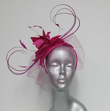 Women's Satin Covered Wool Felt Cocktail/Fascinator with Veil and Bird Feathers