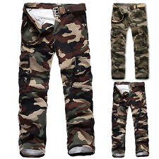 Mens Military Army Cargo Camo Pants Casual Fitted Fashion Trousers