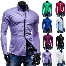 New Fashion Mens Luxury Stylish Long Sleeve Slim Fit Casual Dress Shirts Stylish