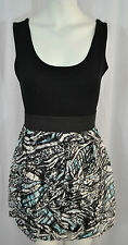 NEW WOMENS LADIES LACE PRINT SHIFT SKATER SLEEVELESS DRESS BLACK TOP SIZE 8-14