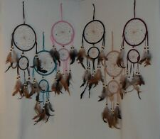 """Dream Catchers 2 Ring Feathers Wall Hanging Ornament 19""""  Choice Of 6 Beautiful"""