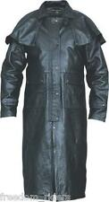 Mens Leather Western Motorcycle Biker Duster Long Outback Trench Coat Buffalo