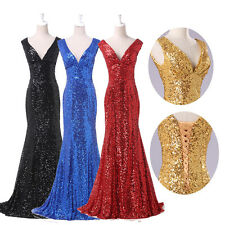 IN Stock New Paillette Mermaid Prom Ball Pageant Dresses Evening Gowns Size 4-16