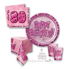 Pink Glitz Sparkle 80th Birthday Party Tableware Pack for 8 and 16 Guests