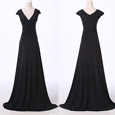 2014 Sexy V Neck Womens Long Prom Cocktail Party Dress Formal Evening Ball Gown