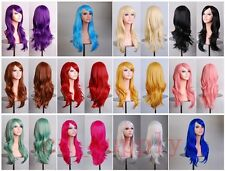 70CM Heat Resistant Long Wavy Cosplay Anime Inclined  Full Wigs + Free Wig Cap
