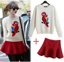 2014 Women's Parrot Pattern Twinset Knitted Sweater Top + Red Skirt Suit 2 PCS
