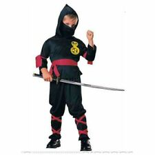 Ninja Boys Costume Fancy Dress Samurai Outfit Waist sash Face Scarf and Trousers