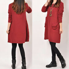 Fashion Womens Long Sleeve Dresses Autunm Winter Casual Loose Cotton Plus Size