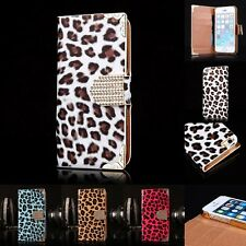 NEW Bling Leopard Leather Magnetic Flip Wallet Case Cover for Apple iPhone 5 5S