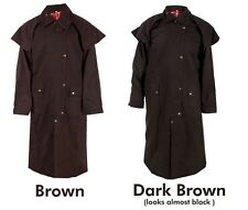 S M L XL Mens Oil Cloth Oilskin Western Australian Waterproof Duster Coat Jacket