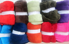 SOLID BRIGTH COLORS LIGHT WEIGHT THROW SUMMER SOFT BLANKETS PLUSH  KING QUEEN