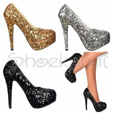 Womens Sparkly Sequin Party Xmas Prom High Heel Stiletto Shoes Black Silver Gold