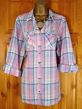 NEW EVANS LADIES WHITE PINK BLUE PASTEL CHECK SHIRT TOP BLOUSE UK SIZE 14 - 32