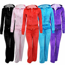 Ladies Womens Sexy Full Velour Tracksuit Jogging Hoody Suit Lounge Size UK 8--14