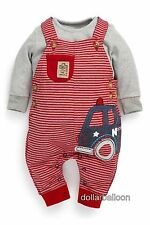 NEXT BOYS RED/WHITE STRIPE FIRE ENGINE DUNGAREES & GREY LONG SLEEVE BODYSUIT SET