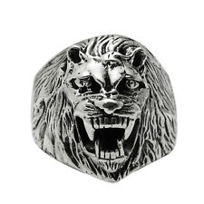 Solid 925 Sterling Silver King Lion Face Head Ring