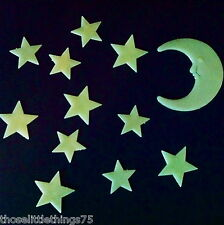 Glow in the dark moon & stars plastic shapes for bedroom ceiling wall kids