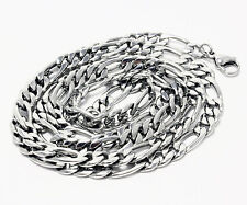 Stainless Steel Figaro Chain Mens Necklace Fashion Jewelry 20In-30In 5mm-11mm