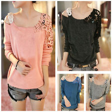 Women Lace Flower Shoulder Knitted Girls Long Sleeve Blouse Tops Casual Sweater