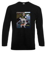 Goodfellas Painting Old Man with Two Dogs Long Sleeve Black T-Shirt Size S-3XL