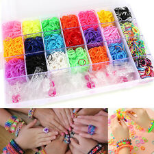 4800 Pcs Rainbow Rubber Loom Bands Bracelet Making Kit Set Alphabet Beads Craft