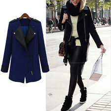 Womens Long PU Leather Sleeve Jacket Coat Warm Parka Trench Windbreaker 2 Colors