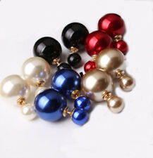Hot New Design Fashion 1 Pair Man Made Double Pearl Earrings Ear Studs 8 Colors