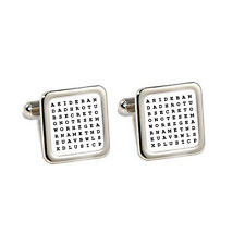 Wedding,Birthday,Custom Personalised Word search Cufflinks with Engraved Gift Bo