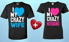I Love My Crazy Wife & Husband COUPLE T-SHIRT Cute Matching Valentines Day Shirt