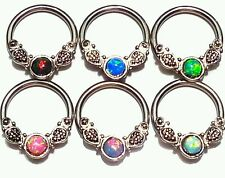 SEPTUM Clicker Ring Retainer Spacer Hoop 16g 14g 316L SIMULATED FIRE OPAL
