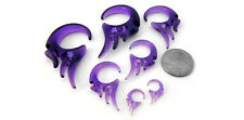 Purple Tribal Wing Spirals Plugs Sizes / Gauges (8G - 0G) - New!