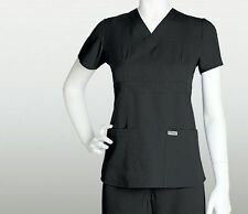 Grey's Anatomy 4153 Women's 01-BLACK 3Pocket Mock Wrap Scrub Top Choose Size NWT