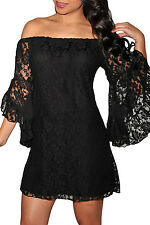 women Lace Off-The-Shoulder sexy elegant Mini party dress plus size XXL(in US)