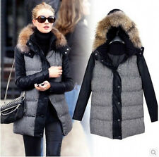PU leather Sleeve Women Winter Thick Hooded Fur Collar Cotton-padded coat jacket