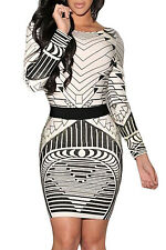Sexy Backless Tribal Print Long Sleeve Vintage party dress LC21723 women bodycon