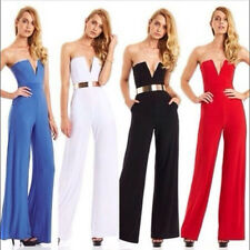 Sexy Ladies Women Strapless Cocktail Evening Party V Neck Jumpsuit Romper Pants