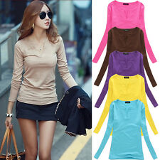 █ █ FASHION WOMEN COTTON V NECK Casual Long Sleeve Shirt Tops Blouse T Shirt TEE