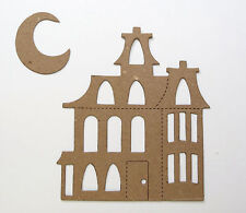 Haunted House and moon Halloween Chipboard Die Cut Embellishment stickers avail.