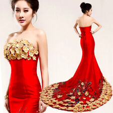 NEW Red Cheongsam Quinceanera Ball Gown Formal Prom Party Train Evening Dresses