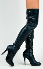 Kim-2 Thigh High Stretchy Faux Leather Stiletto Heel Side Zipper Boots Black
