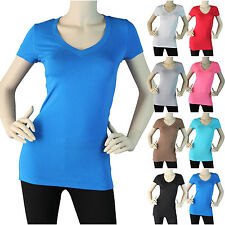 Short Sleeve T Shirt V Neck Basic Plain  Casual Women Juniors Solid Top Stretch