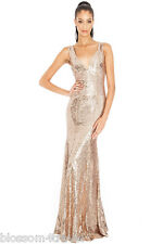 Goddiva Champagne Long Sequin Sweetheart Evening Maxi Gown Dress Prom Party 8-14