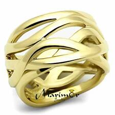 STAINLESS STEEL 316L 14K GOLD ION PLATED FASHION RING 13mm WIDE, WOMEN'S SZ 5-10