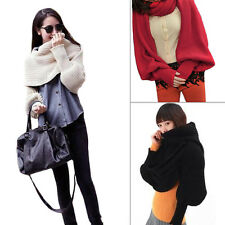 Hot Sale Women Solid Scarf With Sleeve Crochet Knit Long Soft Wrap Shawl Scarves