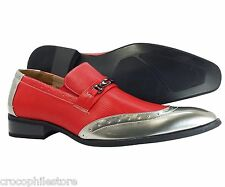 Mens Dress Shoes Majestic Collection Red Slip on Loafers Leather Lining Style