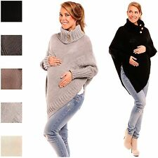 Happy Mama Pregnancy Maternity Women's Turtleneck Poncho Knitted Cape Top 312